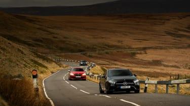Mercedes-AMG A35 saloon vs Cupra Leon R Abt vs BMW M135i - pan
