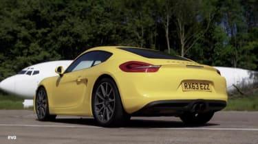 Porsche Cayman S yellow rear