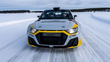 Audi A1 Quattro WRC2 rally car - tracking on ice