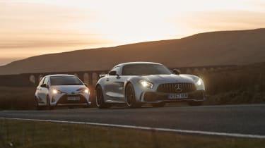 Yaris GRMN & Mercedes-AMG GT R sunset