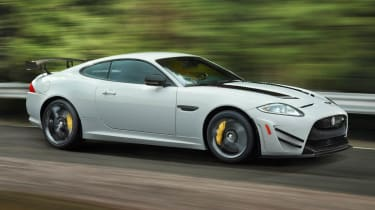 New Jaguar XKR-S GT white side view
