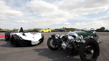Morgan 3 Wheeler v Vauxhall Maloo v Mercedes ML63 v BAC Mono