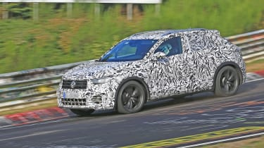 Volkswagen T-Roc R prototype testing at the Nürburgring - front