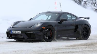 Porsche 718 Cayman GT4 spy - quarter
