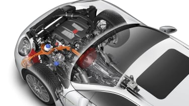 Porsche range: all-hybrid future cutaway