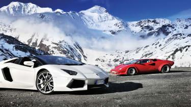 Lamborghini Aventador and Countach in the Alps
