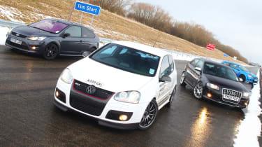 Hot hatch group test: Ford Focus ST v VW Golf GTI v Audi S3