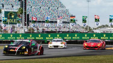 Porsche 911 RSR and Ferrari 488 GTE at Daytona International Speedway