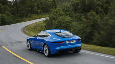 Jaguar F-type four-cylinder rear three quarter tracking