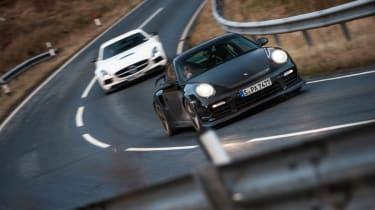 Porsche 911 GT2 RS v Mercedes SLS AMG Black Series