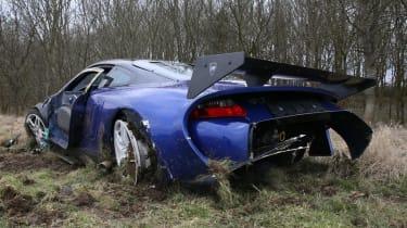 crashed 9ff GT9R low rear