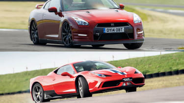 Ferrari 458 Speciale v Nissan GT-R track video