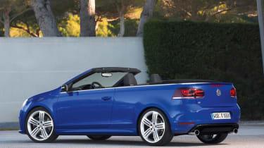 VW Golf R Cabriolet blue rear