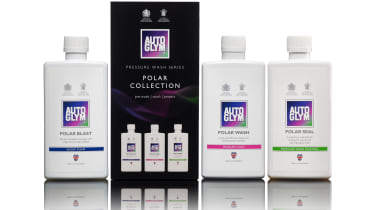 Autoglym Snow Foam, Pressure Wash and Pressure Wash Coating bottles and Polar Collection box