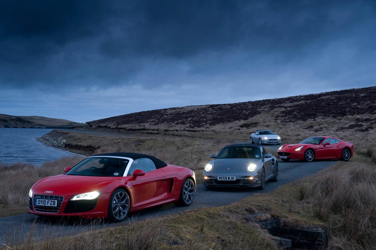 Audi R8 Spyder V Porsche 911 Turbo V Jaguar Xkr V Ferrari California Evo