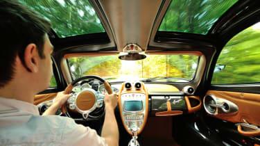 New Pagani Huayra leather interior driving shot
