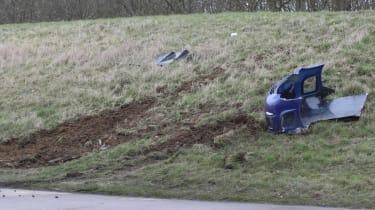 crashed 9ff GT9R skid marks close