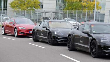 Porsche Mission E - Tesla front