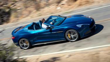 Aston Martin Vanquish Volante blue side profile roof down