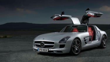Mercedes SLS AMG v Ferrari 599, Porsche 911, Aston Martin, Audi R8 and Bristol Fighter