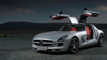 Mercedes SLS AMG v Ferrari 599, Porsche 911, Aston Martin, Audi R8 and Bristol Fighter