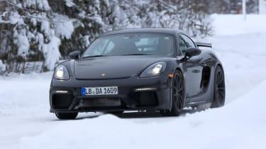 Porsche 718 Cayman GT4 spy - front quarter