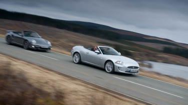 Porsche 911 Turbo and Jaguar XKR