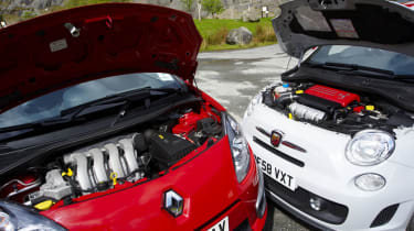 Renaultsport Twingo 133 and Abarth 500 with bonnets up