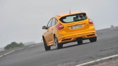 2012 Ford Focus ST orange on track