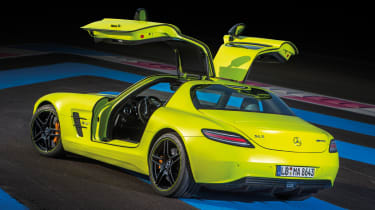 Mercedes-Benz SLS AMG Electric Drive yellow doors up