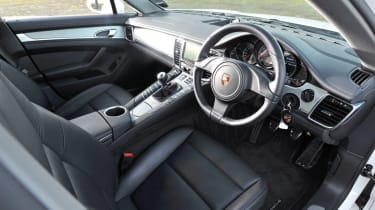Porsche Panamera S interior with black leather seats