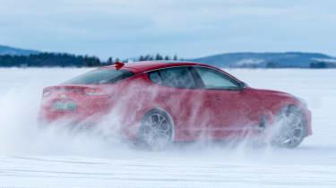 Kia Stinger GT prototype drive Sweden drift
