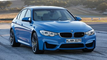 New BMW M3 saloon blue front
