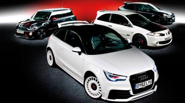 Audi A1 Quattro vs Mini JCW GP, Ford Focus RS500 and Renault Megane R26.R: