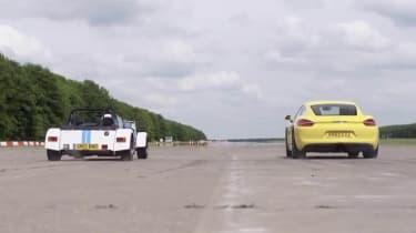 Porsche Cayman S v Caterham Seven: drag race