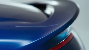 Aston Martin Vanquish Volante blue rear spoiler