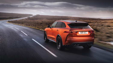 Jaguar F Pace SVR 2021 review - tracking rear
