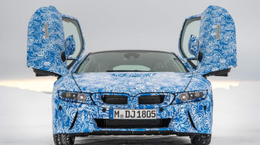 BMW i8 hybrid sports car doors up front view