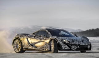 McLaren P1 ice driving video slide