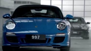 Porsche 911 50th birthday video Riviera Blue 997