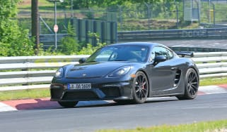 Porsche 718 Cayman GT4 on track - front