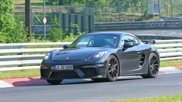 Porsche 718 Cayman GT4 on track - front
