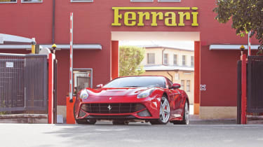 Ferrari F12 Berlinetta outside Ferrari factory gates