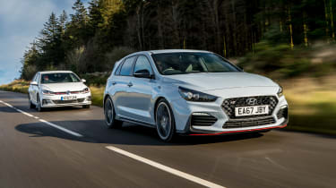 Hyundai i30N group test (Golf GTI and Peugeot 308 GTI) - front