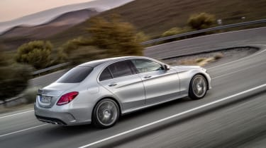 Mercedes C-class silver saloon side profile