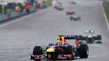 Mark Webber in the lead at Sepang...