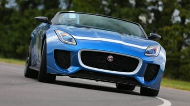 Jaguar F-type Project 7 blue and white cornering