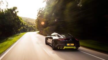 Aston Martin Vantage - black rear tracking