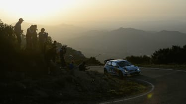 WRC Spain VW sunset hairpin