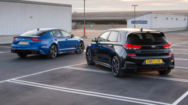 Hyundai i30 N and Kia Stinger GT S - static